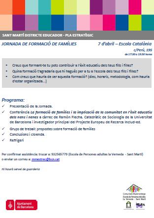 JORNADA DE FORMACIÓ DE FAMÍLIES – 7 d'abril