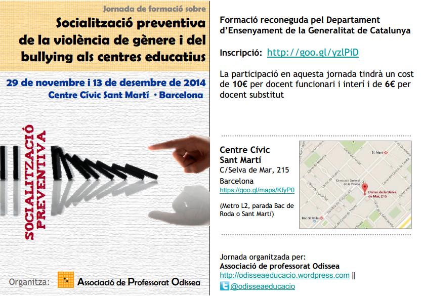 Jornada de socialització preventiva de la violència de gènere i del bullying als centres educatius