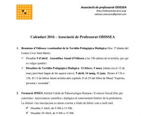Calendari de formacions – Associació de professorat ODISSEA